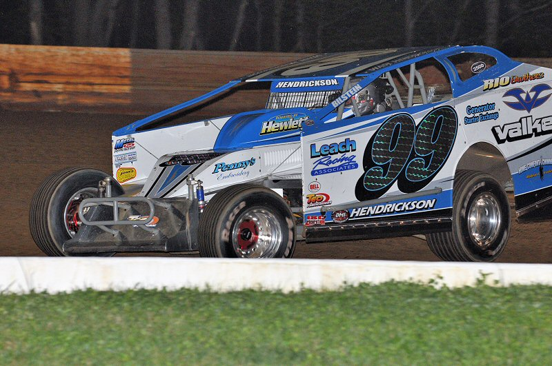 Wade Hendrickson held off Rick Laubach to win the Tri-Track Modified feature.