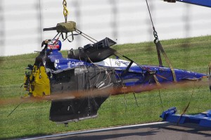 The remains of Mike Conway's car after getting into the fence at Indianapolis. (Mr. 0 photo, flickr.com / CC 2.0)